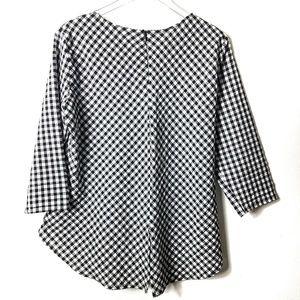 Zara Basic Plaid Gingham Blouse Black White Gray